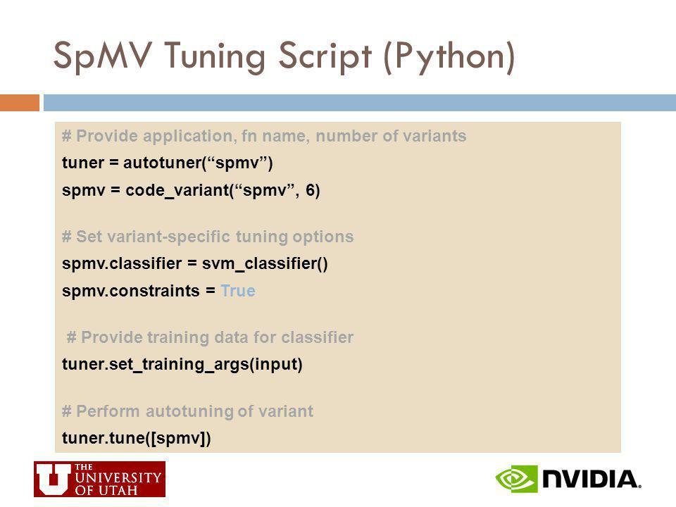 SpMV Tuning Script (Python) # Provide application, fn name, number of variants tuner = autotuner(spmv) spmv = code_variant(spmv, 6) # Set variant-spec