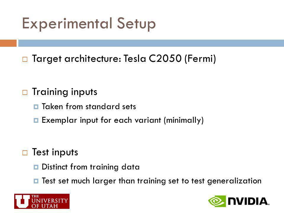 Experimental Setup Target architecture: Tesla C2050 (Fermi) Training inputs Taken from standard sets Exemplar input for each variant (minimally) Test