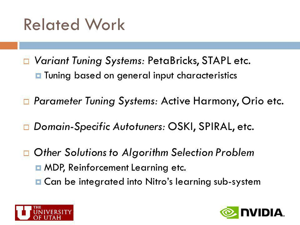 Related Work Variant Tuning Systems: PetaBricks, STAPL etc. Tuning based on general input characteristics Parameter Tuning Systems: Active Harmony, Or