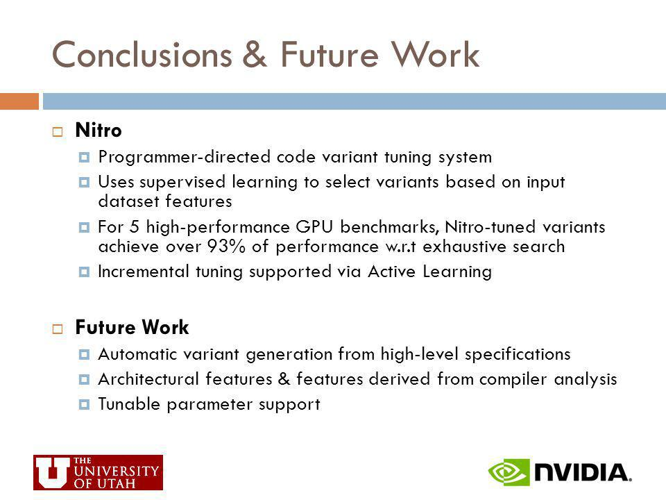 Conclusions & Future Work Nitro Programmer-directed code variant tuning system Uses supervised learning to select variants based on input dataset feat