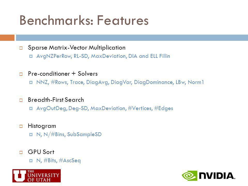 Benchmarks: Features Sparse Matrix-Vector Multiplication AvgNZPerRow, RL-SD, MaxDeviation, DIA and ELL Fillin Pre-conditioner + Solvers NNZ, #Rows, Tr