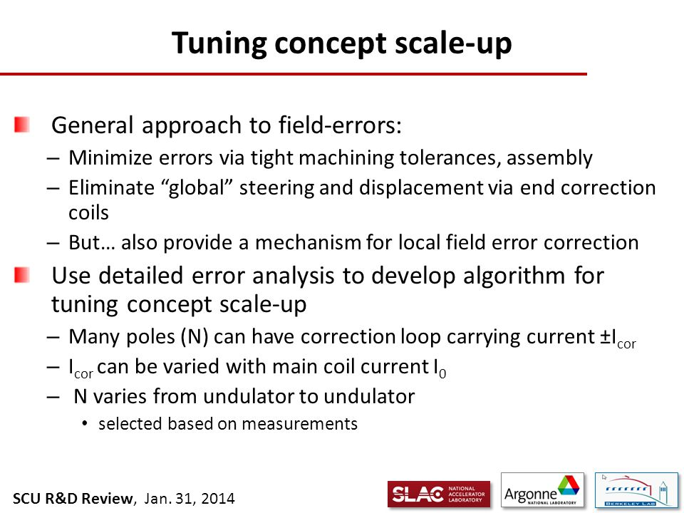 SCU R&D Review, Jan. 31, 2014 Tuning concept: basics
