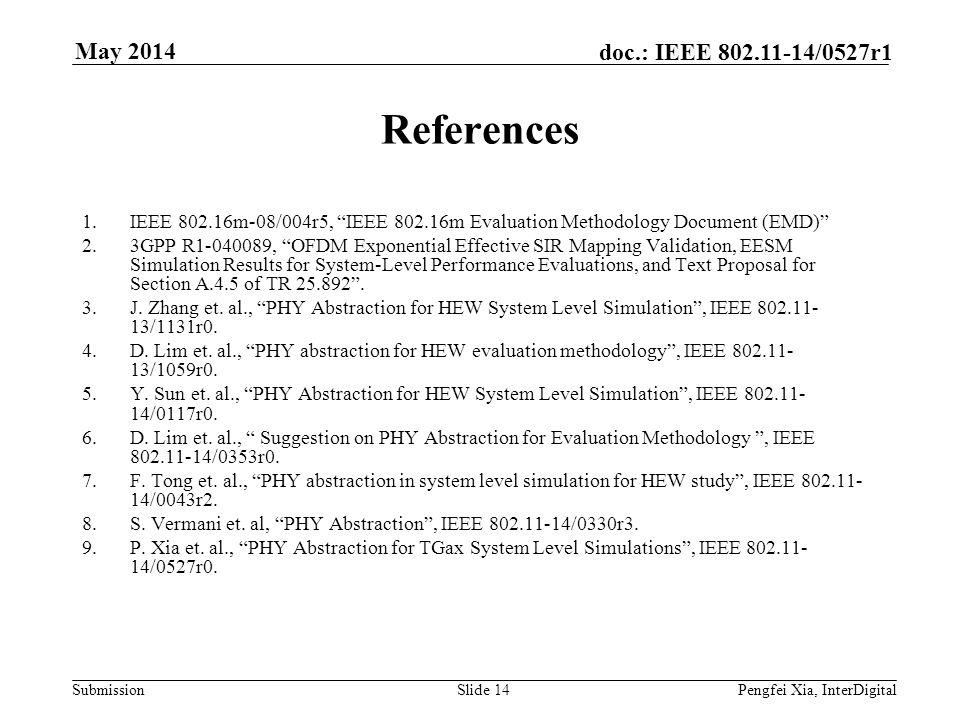Submission doc.: IEEE 802.11-14/0527r1 May 2014 Pengfei Xia, InterDigitalSlide 14 References 1.IEEE 802.16m-08/004r5, IEEE 802.16m Evaluation Methodol