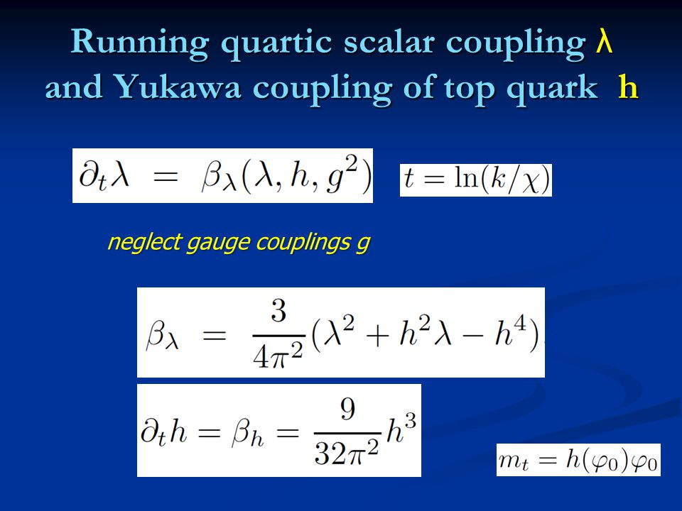 Running quartic scalar coupling λ and Yukawa coupling of top quark h neglect gauge couplings g
