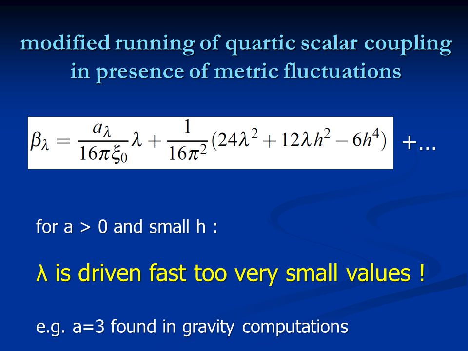 modified running of quartic scalar coupling in presence of metric fluctuations for a > 0 and small h : λ is driven fast too very small values ! e.g. a