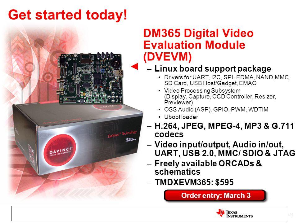 11 Get started today! DM365 Digital Video Evaluation Module (DVEVM) –Linux board support package Drivers for UART, I2C, SPI, EDMA, NAND,MMC, SD Card,