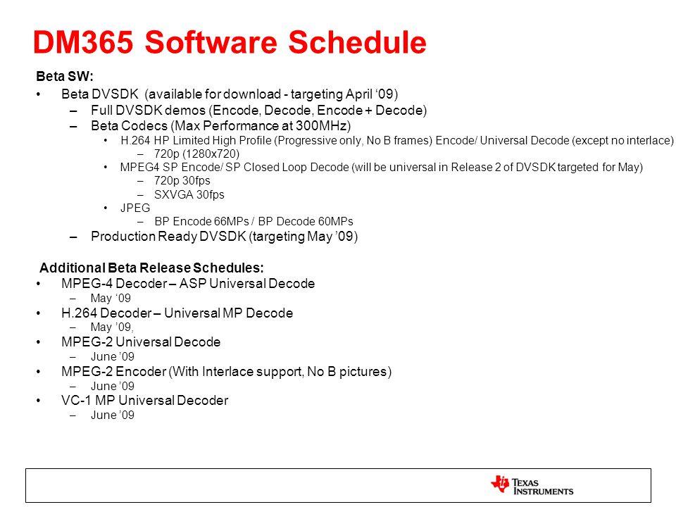 DM365 Software Schedule Beta SW: Beta DVSDK (available for download - targeting April 09) –Full DVSDK demos (Encode, Decode, Encode + Decode) –Beta Co