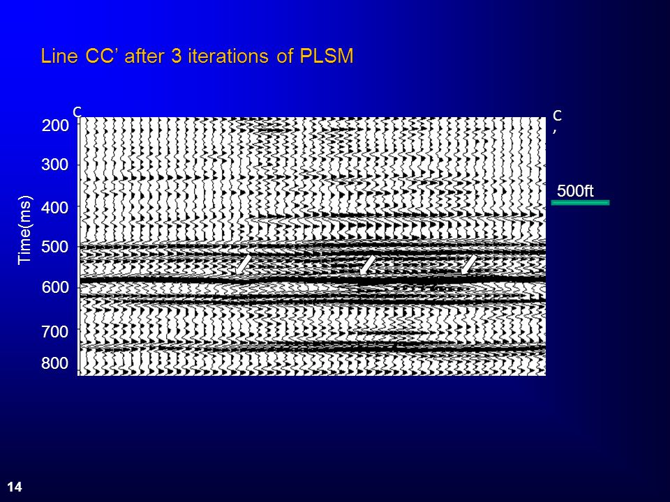 Line CC after 3 iterations of PLSM C C 200 200 300 300 400 400 500 500 600 600 700 700 800 800 Time(ms) 500ft 14