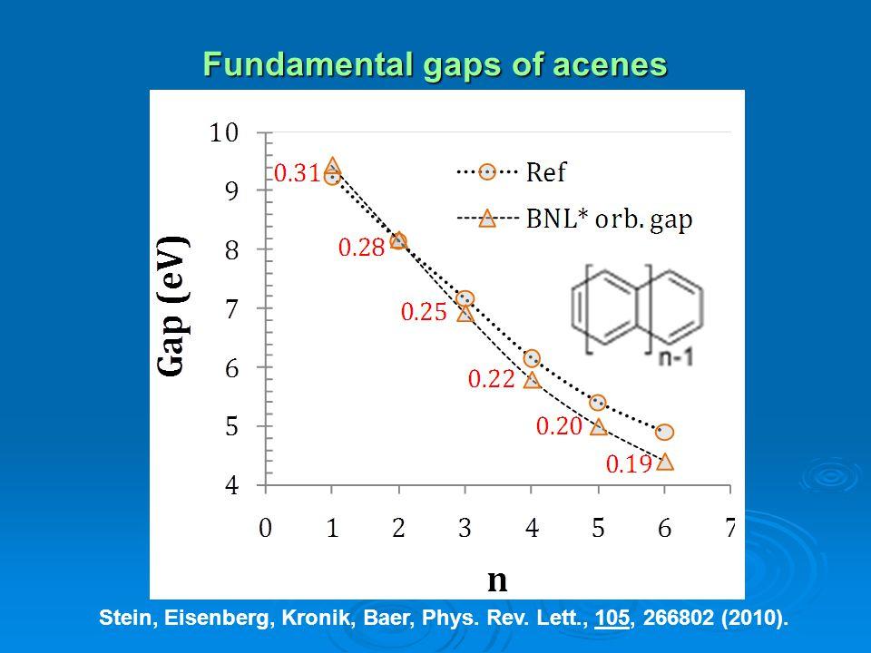Fundamental gaps of acenes Stein, Eisenberg, Kronik, Baer, Phys. Rev. Lett., 105, 266802 (2010).