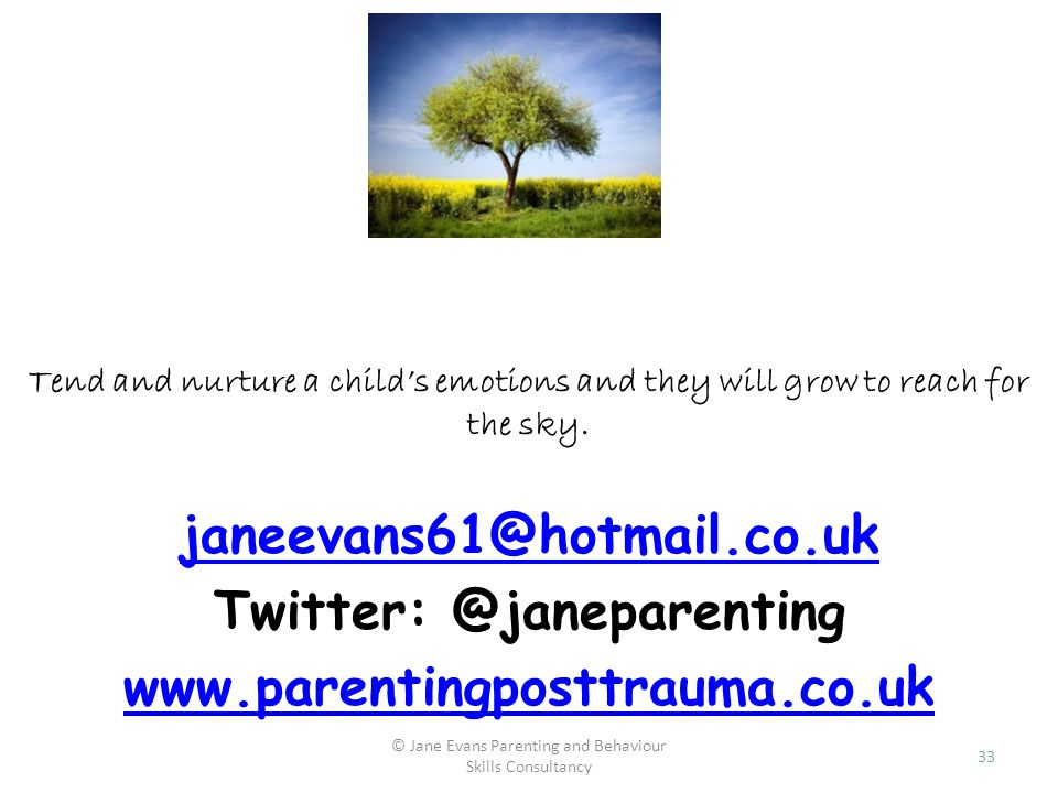 © Jane Evans Parenting and Behaviour Skills Consultancy 33 Tend and nurture a childs emotions and they will grow to reach for the sky. janeevans61@hot