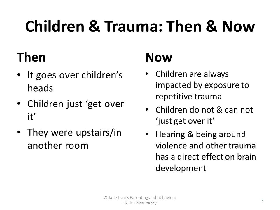 Children & Trauma: Then & Now Then It goes over childrens heads Children just get over it They were upstairs/in another room Now Children are always i