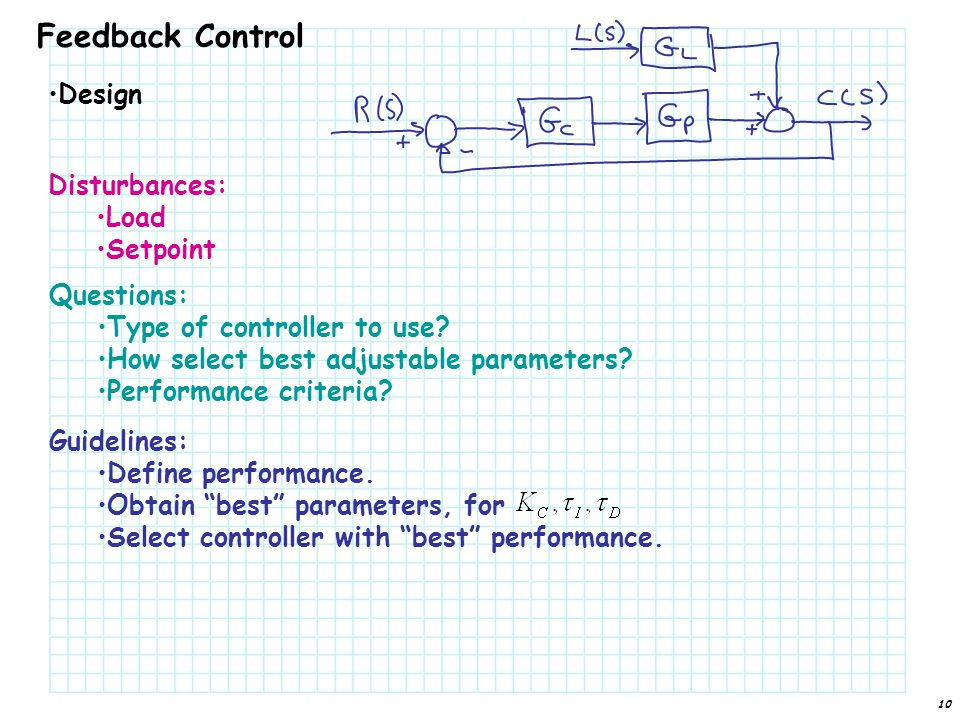 Feedback Control Design Disturbances: Load Setpoint Questions: Type of controller to use.