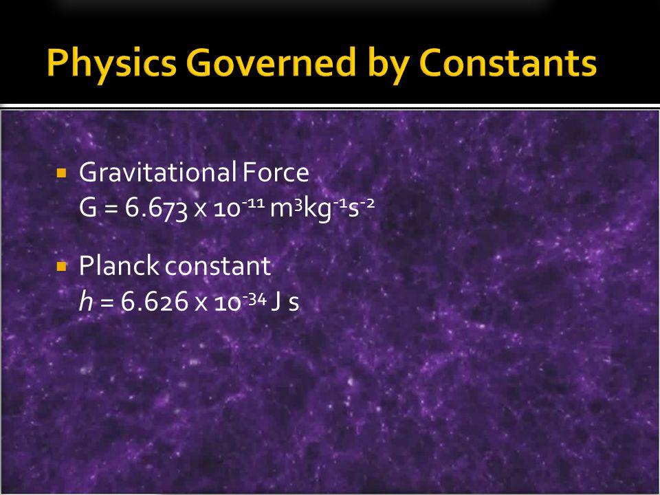 Gravitational Force G = 6.673 x 10 -11 m 3 kg -1 s -2 Planck constant h = 6.626 x 10 -34 J s