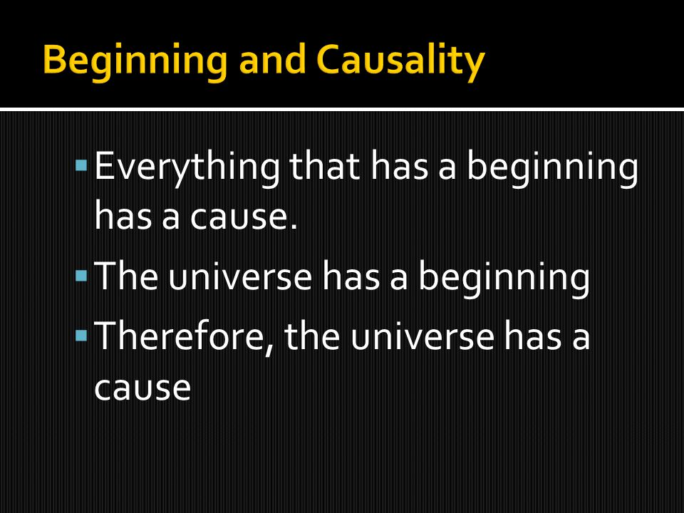 Everything that has a beginning has a cause.