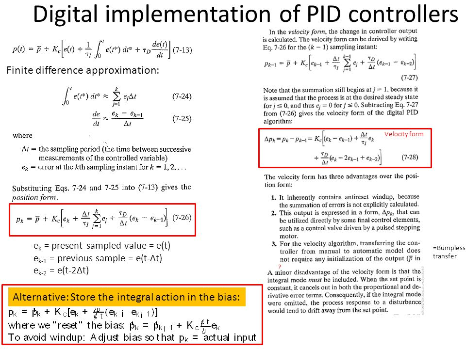 Digital implementation of PID controllers Finite difference approximation: ? e k = present sampled value = e(t) e k-1 = previous sample = e(t-Δt) e k-