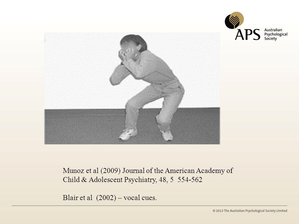 Munoz et al (2009) Journal of the American Academy of Child & Adolescent Psychiatry, 48, 5 554-562 Blair et al (2002) – vocal cues.