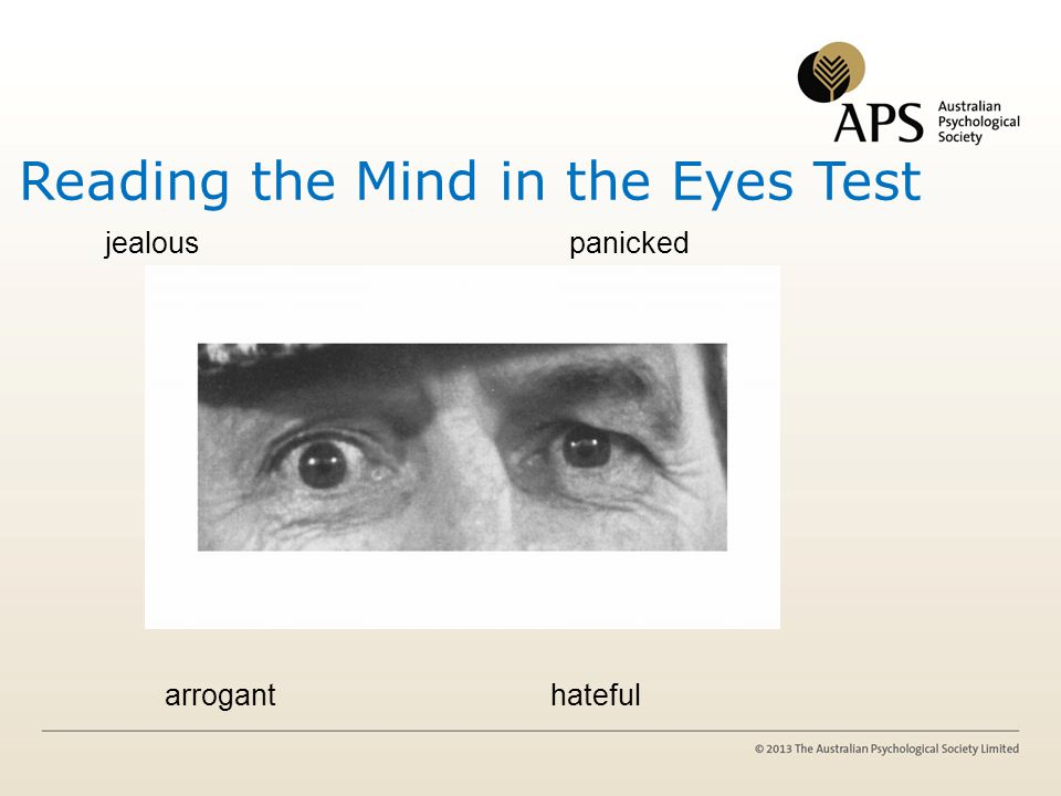 Reading the Mind in the Eyes Test jealous panicked arrogant hateful