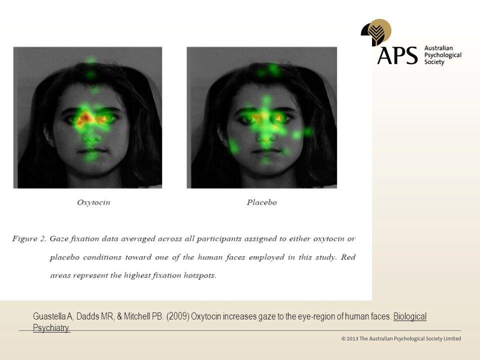 Guastella A, Dadds MR, & Mitchell PB. (2009) Oxytocin increases gaze to the eye-region of human faces. Biological Psychiatry.