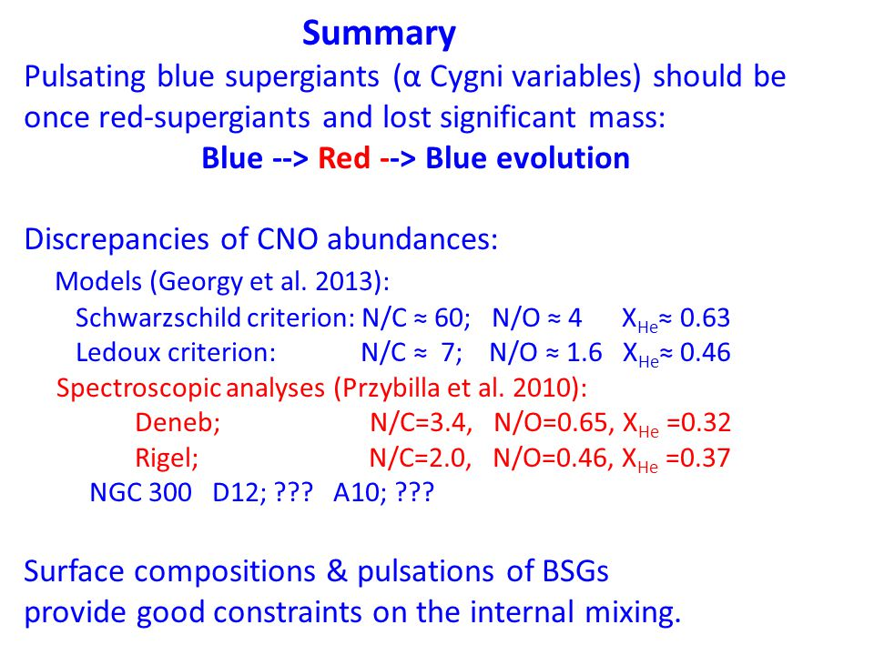 Summary Pulsating blue supergiants (α Cygni variables) should be once red-supergiants and lost significant mass: Blue --> Red --> Blue evolution Discr