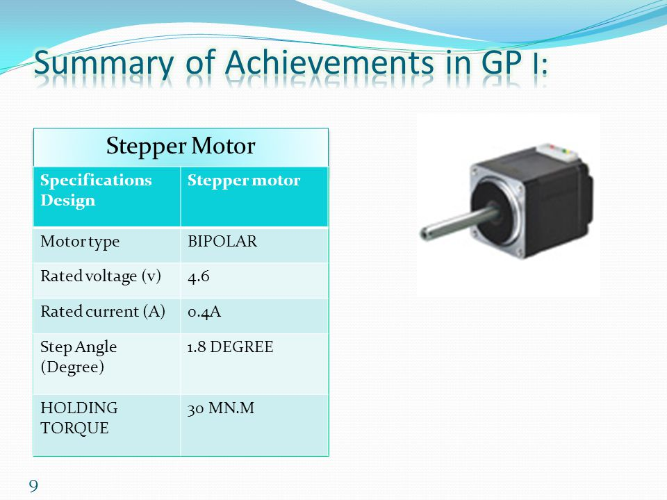 9 Stepper Motor Specifications Design Stepper motor Motor typeBIPOLAR Rated voltage (v)4.6 Rated current (A)0.4A Step Angle (Degree) 1.8 DEGREE HOLDIN