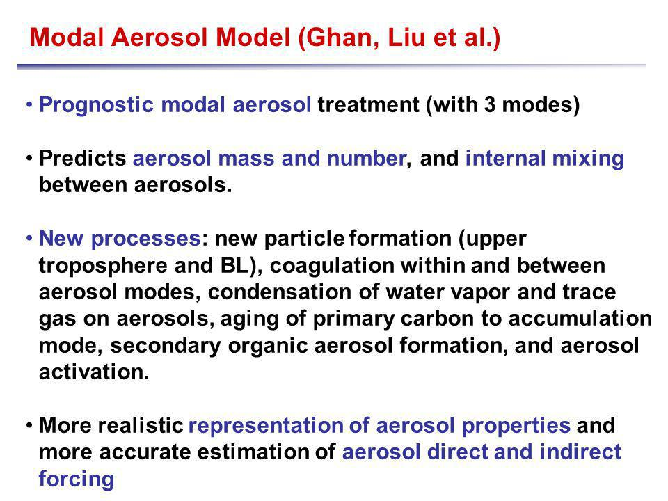 Modal Aerosol Model (Ghan, Liu et al.) Prognostic modal aerosol treatment (with 3 modes) Predicts aerosol mass and number, and internal mixing between aerosols.