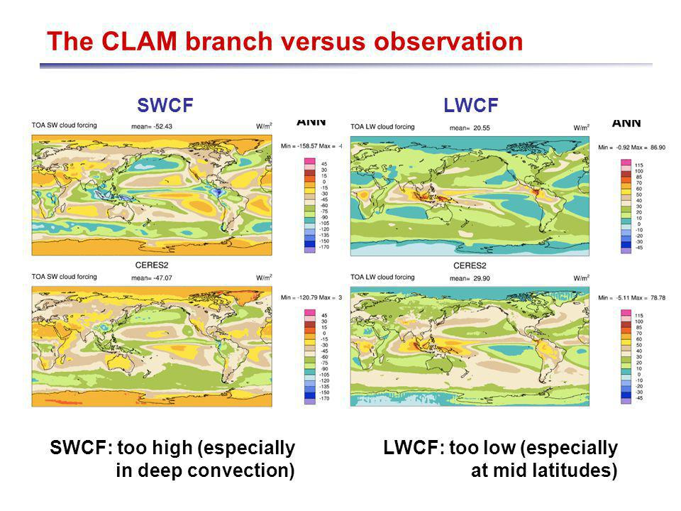 The CLAM branch versus observation SWCFLWCF SWCF: too high (especially in deep convection) LWCF: too low (especially at mid latitudes)