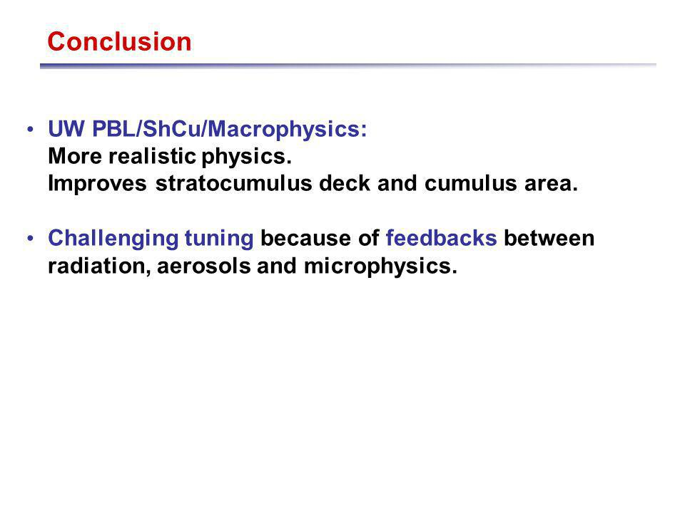 Conclusion UW PBL/ShCu/Macrophysics: More realistic physics.