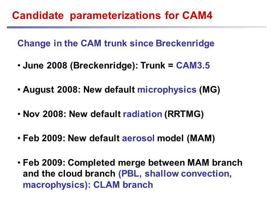 The CLAM branch LWP Example of trade-offs - in the CLAM branch, we reduced the SWCF in deep convective area by increasing the autoconversion of rain.