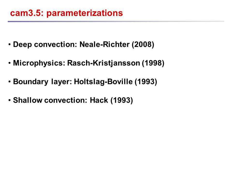 cam3.5: parameterizations Deep convection: Neale-Richter (2008) Microphysics: Rasch-Kristjansson (1998) Boundary layer: Holtslag-Boville (1993) Shallow convection: Hack (1993)