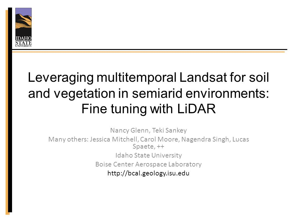 Objectives Presence/absence Subpixel abundance Develop innovative approaches for semiarid vegetation & soil – sparse, spectrally indeterminate targets and mixed pixels – Multitemporal stacking – Fusing with LiDAR