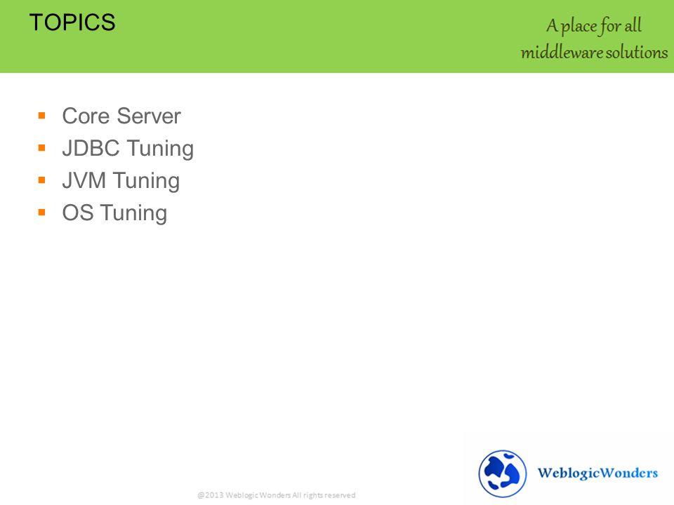 Core Server JDBC Tuning JVM Tuning OS Tuning TOPICS