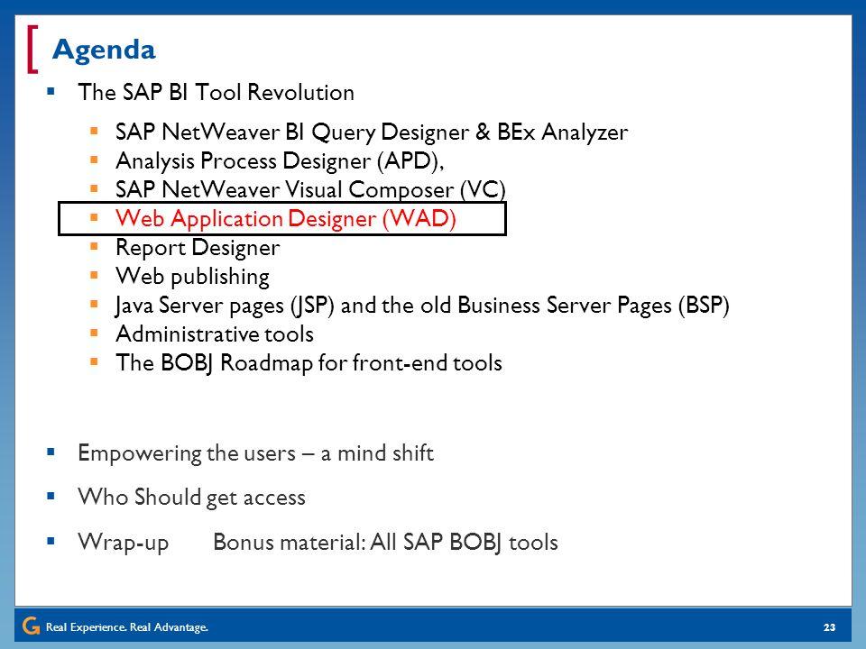 Real Experience. Real Advantage. [ 23 Agenda The SAP BI Tool Revolution SAP NetWeaver BI Query Designer & BEx Analyzer Analysis Process Designer (APD)