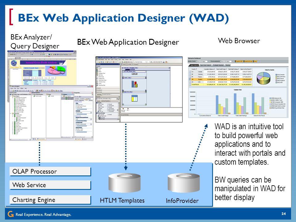 Real Experience. Real Advantage. [ 24 BEx Web Application Designer (WAD) OLAP Processor BEx Web Application Designer BEx Analyzer/ Query Designer Web