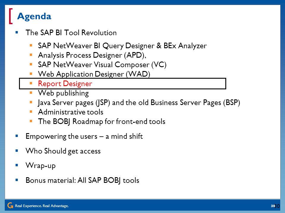 Real Experience. Real Advantage. [ 30 Agenda The SAP BI Tool Revolution SAP NetWeaver BI Query Designer & BEx Analyzer Analysis Process Designer (APD)