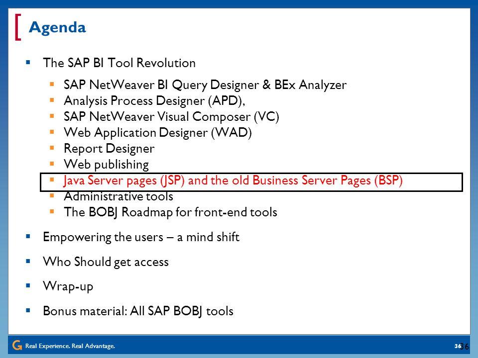 Real Experience. Real Advantage. [ 36 Agenda The SAP BI Tool Revolution SAP NetWeaver BI Query Designer & BEx Analyzer Analysis Process Designer (APD)