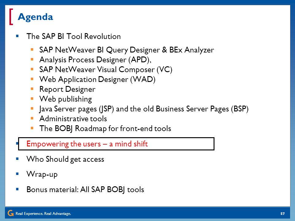 Real Experience. Real Advantage. [ 57 Agenda The SAP BI Tool Revolution SAP NetWeaver BI Query Designer & BEx Analyzer Analysis Process Designer (APD)