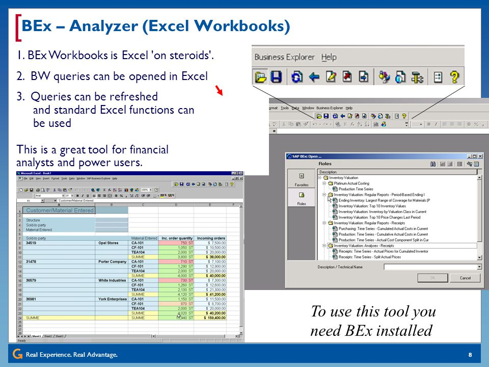Real Experience. Real Advantage. [ 8 BEx – Analyzer (Excel Workbooks) 1. BEx Workbooks is Excel 'on steroids'. 2. BW queries can be opened in Excel 3.