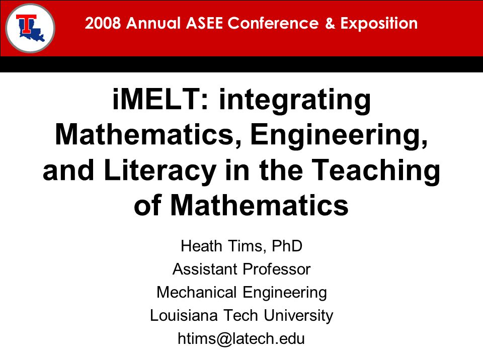 2008 Annual ASEE Conference & Exposition BACKGROUND MISSION APPROACH RESULTS QUESTIONS Work conducted at the Louisiana Tech University Heath Tims Galen Turner Don Schillinger Brian Camp