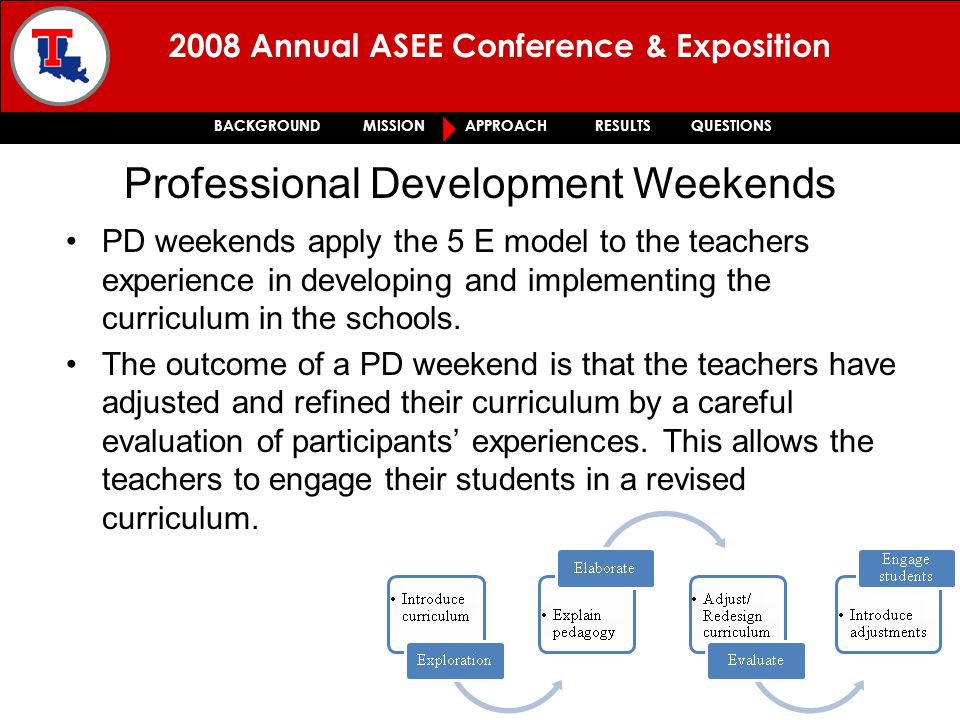 2008 Annual ASEE Conference & Exposition BACKGROUND MISSION APPROACH RESULTS QUESTIONS PD weekends apply the 5 E model to the teachers experience in developing and implementing the curriculum in the schools.