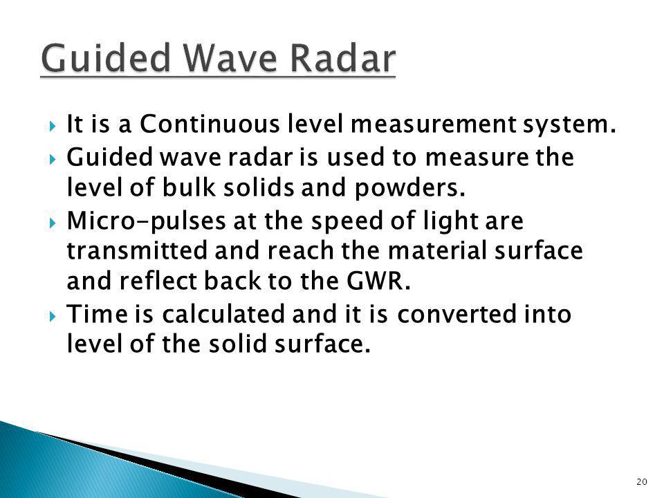 It is a Continuous level measurement system. Guided wave radar is used to measure the level of bulk solids and powders. Micro-pulses at the speed of l