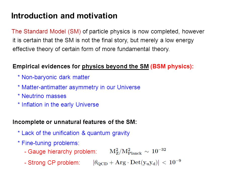Introduction and motivation The Standard Model (SM) of particle physics is now completed, however it is certain that the SM is not the final story, bu