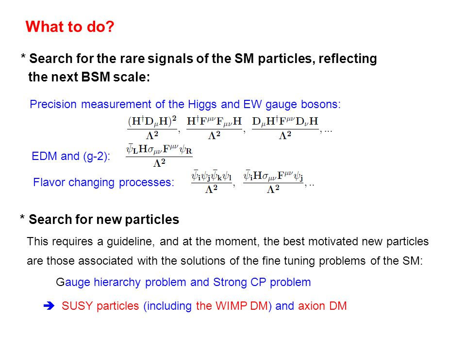 What to do? * Search for the rare signals of the SM particles, reflecting the next BSM scale: Precision measurement of the Higgs and EW gauge bosons: