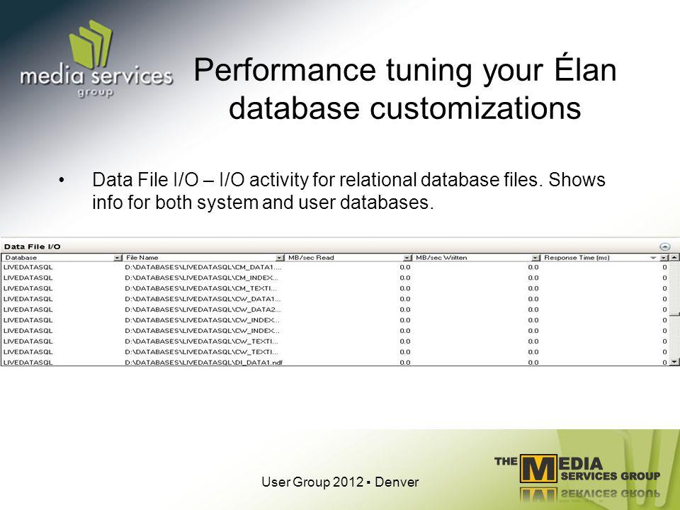 Performance tuning your Élan database customizations Data File I/O – I/O activity for relational database files.