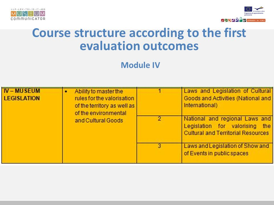 Course structure according to the first evaluation outcomes Module IV
