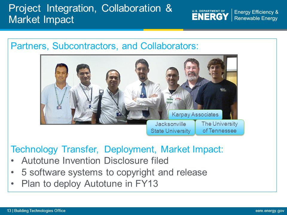 13 | Building Technologies Officeeere.energy.gov Project Integration, Collaboration & Market Impact Partners, Subcontractors, and Collaborators: Techn