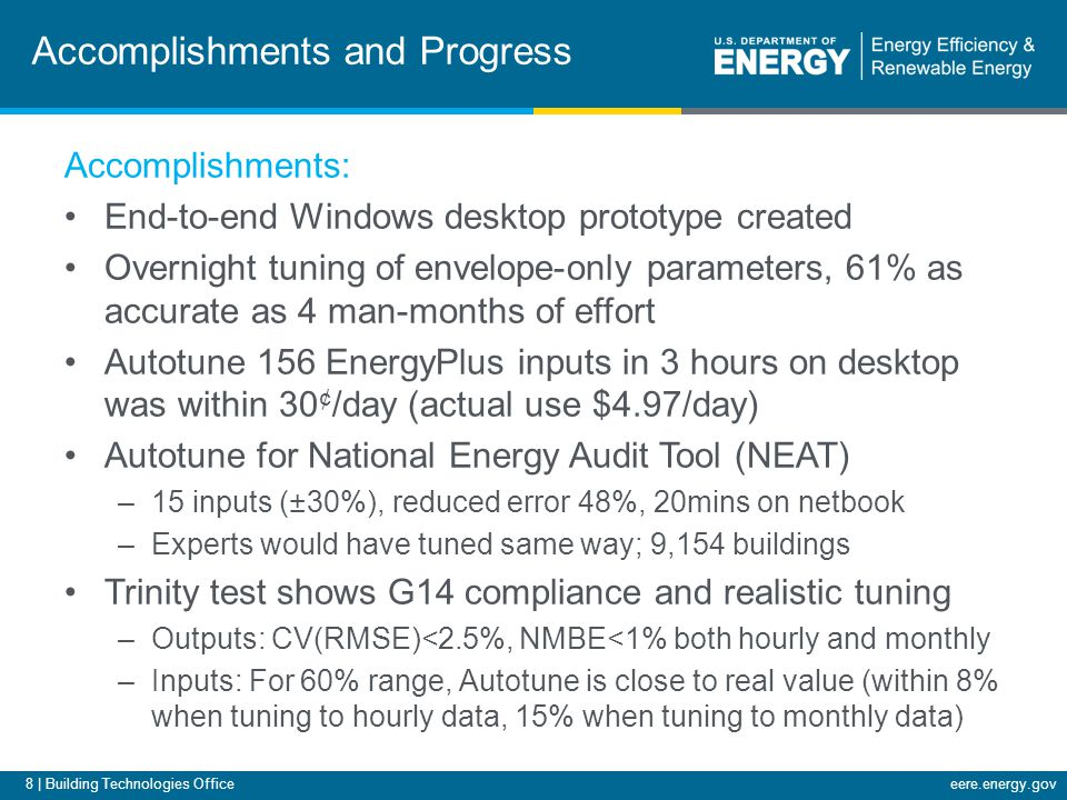 8 | Building Technologies Officeeere.energy.gov Accomplishments and Progress Accomplishments: End-to-end Windows desktop prototype created Overnight t
