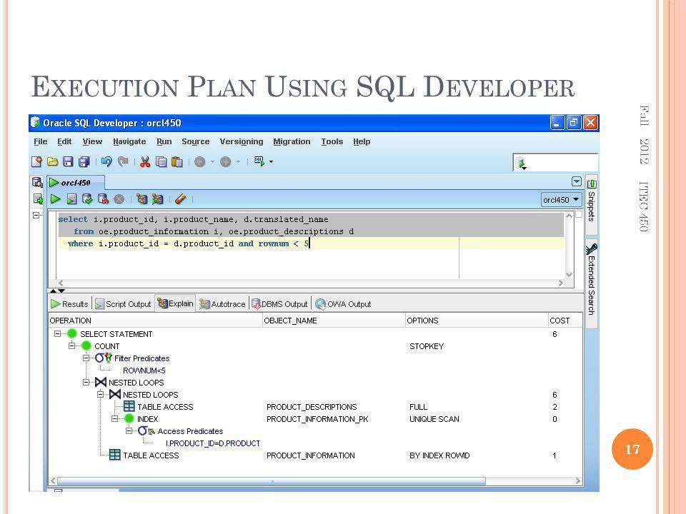 E XECUTION P LAN U SING SQL D EVELOPER Fall 2012 17 ITEC 450