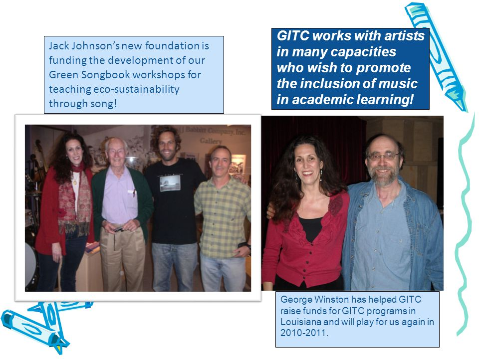 GITC works with artists in many capacities who wish to promote the inclusion of music in academic learning.
