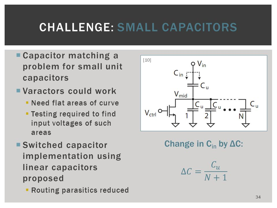 Capacitor matching a problem for small unit capacitors Varactors could work Need flat areas of curve Testing required to find input voltages of such a