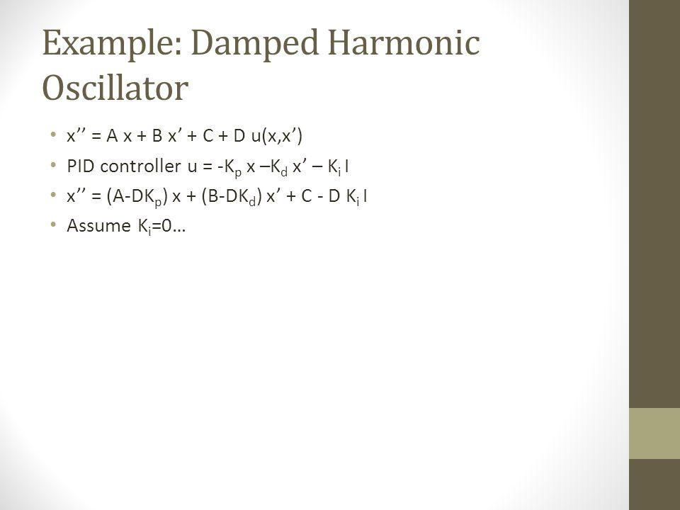 Example: Damped Harmonic Oscillator x = A x + B x + C + D u(x,x) PID controller u = -K p x –K d x – K i I x = (A-DK p ) x + (B-DK d ) x + C - D K i I Assume K i =0…